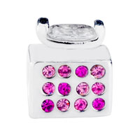 Charms Beads - BLING ROSE PINK CRYSTAL PERFUME BOTTLE BEADS CHARM BRACELETS JEWELRY alternate image 2.