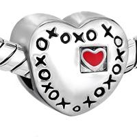 Charms Beads - RED HEART CHARM BRACELET XOXO HUGS & KISSES LOVE CHARM EUROPEAN BEAD alternate image 1.