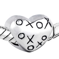 Charms Beads - SILVER PLATED HUGS & KISSES XOXO HEART CHARM BRACELET EUROPEAN BEAD alternate image 1.