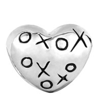 Charms Beads - SILVER PLATED HUGS & KISSES XOXO HEART CHARM BRACELET EUROPEAN BEAD alternate image 2.