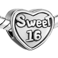 Charms Beads - SILVER PLATED HEART CHARM BRACELET WORDS SWEET 16 EUROPEAN BEAD alternate image 1.
