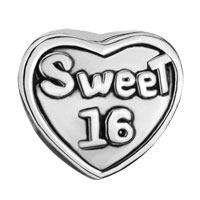 Charms Beads - SILVER PLATED HEART CHARM BRACELET WORDS SWEET 16 EUROPEAN BEAD alternate image 2.