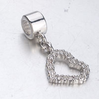 Charms Beads - SILVER CRYSTAL OPEN HEART CHARM BRACELET DANGLE SILVER EUROPEAN BEAD alternate image 1.
