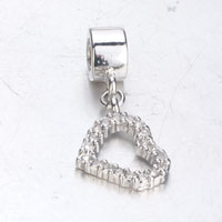 Charms Beads - SILVER CRYSTAL OPEN HEART CHARM BRACELET DANGLE SILVER EUROPEAN BEAD alternate image 2.