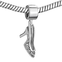 Charms Beads - SILVER PLATED HIGHHEELED SHOE CHARM BRACELET DANGLE EUROPEAN BEAD alternate image 1.