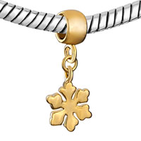 Charms Beads - SILVER PLATED GOLDEN SNOWFLAKE DANGLE EUROPEAN BEAD CHARM BRACELETS alternate image 1.