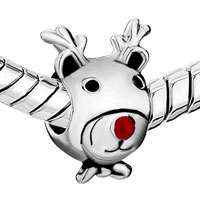 Charms Beads - SILVER PLATED CARTOON DEER RED NOSE EUROPEAN BEAD CHARMS BRACELETS alternate image 1.