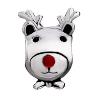 Charms Beads - SILVER PLATED CARTOON DEER RED NOSE EUROPEAN BEAD CHARMS BRACELETS alternate image 2.