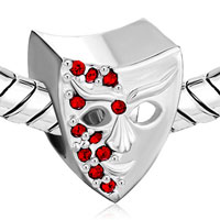 Charms Beads - GARNET RED BLING SWAROVSKI CRYSTAL MASK BEADS CHARM BRACELET JEWELRY alternate image 1.