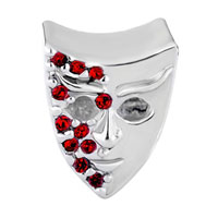 Charms Beads - GARNET RED BLING SWAROVSKI CRYSTAL MASK BEADS CHARM BRACELET JEWELRY alternate image 2.
