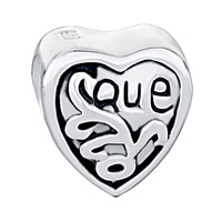 Sterling Silver Jewelry - JEWELRY 925  STERLING SILVER ENGRAVED HEART LOVE BEADS CHARMS BRACELETS FIT ALL BRANDS alternate image 2.