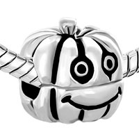 Sterling Silver Jewelry - 925  STERLING SILVER HAPPY JACK O LANTERN HALLOWEEN PUMPKIN FIT ALL BRANDS BEADS CHARMS BRACELETS alternate image 1.