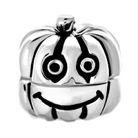 Sterling Silver Jewelry - 925  STERLING SILVER HAPPY JACK O LANTERN HALLOWEEN PUMPKIN FIT ALL BRANDS BEADS CHARMS BRACELETS alternate image 2.