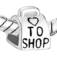 Sterling Silver Jewelry - 925  STERLING SILVER LOVE TO SHOP BAG HANDBAG BEADS CHARMS BRACELETS FIT ALL BRANDS alternate image 1.