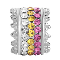 Sterling Silver Jewelry - 925  STERLING SILVER CLEAR CITRINE PINK CRYSTAL JEWELRY BEADS CHARMS BRACELETS FIT ALL BRANDS alternate image 2.