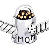 Sterling Silver Jewelry - MOM CHARMS 925 STERLING SILVER BEADS WATERING FLOWER POT BEADS CHARMS alternate image 1.