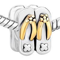 Sterling Silver Jewelry - 925  STERLING SILVER BEACH SLIPPERS GOLDEN JEWELRY GIFT FITS BEADS CHARMS BRACELETS FIT ALL BRANDS alternate image 1.