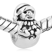 Sterling Silver Jewelry - CHRISTMAS CHARMS GIFTS SNOWMAN BEAD 925 STERLING SILVER BARREL CHARM BEAD alternate image 1.