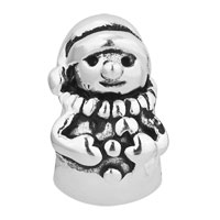 Sterling Silver Jewelry - CHRISTMAS CHARMS GIFTS SNOWMAN BEAD 925 STERLING SILVER BARREL CHARM BEAD alternate image 2.