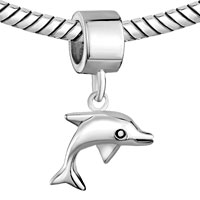 Sterling Silver Jewelry - 925  STERLING SILVER ANIMAL DOLPHIN DANGLE FITS BEADS CHARMS BRACELETS FIT ALL BRANDS alternate image 1.