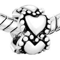 Sterling Silver Jewelry - 925  STERLING SILVER HEARTS LOVE FITS BEADS CHARMS BRACELETS FIT ALL BRANDS alternate image 1.