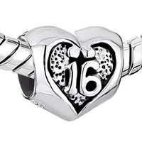 Sterling Silver Jewelry - PUGSTER?  SWEET 16  HEART 925  STERLING SILVER FOR BEADS CHARMS BRACELETS FIT ALL BRANDS alternate image 1.