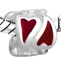 Sterling Silver Jewelry - 925  STERLING SILVER RED HEART LOVE JEWELRY FITS BEADS CHARMS BRACELETS FIT ALL BRANDS alternate image 1.