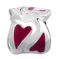 Sterling Silver Jewelry - 925  STERLING SILVER RED HEART LOVE JEWELRY FITS BEADS CHARMS BRACELETS FIT ALL BRANDS alternate image 2.