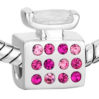 Sterling Silver Jewelry - 925  STERLING SILVER OCTOBER BIRTHSTONE PINK CRYSTAL PERFUME BOTTLE JEWELRY FITS BEADS CHARMS BRACELETS FIT ALL BRANDS alternate image 1.