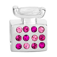 Sterling Silver Jewelry - 925  STERLING SILVER OCTOBER BIRTHSTONE PINK CRYSTAL PERFUME BOTTLE JEWELRY FITS BEADS CHARMS BRACELETS FIT ALL BRANDS alternate image 2.