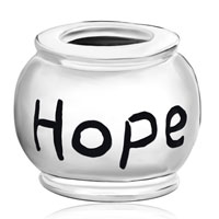 Sterling Silver Jewelry - 925  STERLING SILVER ROUND WORDS HOPE JEWELRY BEADS CHARMS BRACELETS FIT ALL BRANDS alternate image 2.