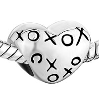 Sterling Silver Jewelry - 925  STERLING SILVER HEART HUGS &  KISSES XOXO LOVE LOVER FITS BEADS CHARMS BRACELETS FIT ALL BRANDS alternate image 1.
