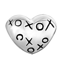 Sterling Silver Jewelry - 925  STERLING SILVER HEART HUGS &  KISSES XOXO LOVE LOVER FITS BEADS CHARMS BRACELETS FIT ALL BRANDS alternate image 2.