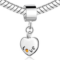 Sterling Silver Jewelry - STERLING SILVER HEART LOVE NOVEMBER TOPAZ CRYSTAL DANGLE BEADS CHARMS BRACELETS FIT ALL BRANDS alternate image 1.