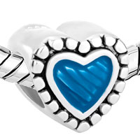 Sterling Silver Jewelry - STERLING SILVER BLUE HEART LOVE FITS BEADS CHARMS BRACELETS FIT ALL BRANDS alternate image 1.