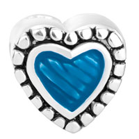 Sterling Silver Jewelry - STERLING SILVER BLUE HEART LOVE FITS BEADS CHARMS BRACELETS FIT ALL BRANDS alternate image 2.