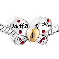 European Beads - MOTHER DAUGHTER CHARMS 925 STERLING SILVER BUTTERFLY BEADS alternate image 1.