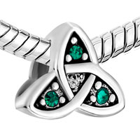 Sterling Silver Jewelry - 925  STERLING SILVER CELTIC SYMBOL TRIQUETRA GREEN CRYSTAL BEADS CHARMS BRACELETS FIT ALL BRANDS alternate image 1.