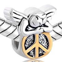 Sterling Silver Jewelry - 925  STERLING SILVER HAPPY SLEEPING ANGEL ON ROUND PEACE SYMBOL EURO JEWELRY GIFT FITS BEADS CHARMS BRACELETS FIT ALL BRANDS alternate image 1.
