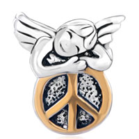 Sterling Silver Jewelry - 925  STERLING SILVER HAPPY SLEEPING ANGEL ON ROUND PEACE SYMBOL EURO JEWELRY GIFT FITS BEADS CHARMS BRACELETS FIT ALL BRANDS alternate image 2.