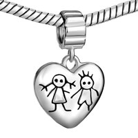 Sterling Silver Jewelry - 925  STERLING SILVER YOUNG COUPLE HEART LOVE LOVER FITS BEADS CHARMS BRACELETS FIT ALL BRANDS alternate image 1.