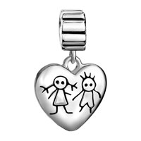Sterling Silver Jewelry - 925  STERLING SILVER YOUNG COUPLE HEART LOVE LOVER FITS BEADS CHARMS BRACELETS FIT ALL BRANDS alternate image 2.