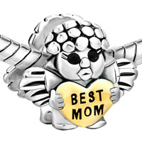 Sterling Silver Jewelry - MOTHER DAUGHTER CHARMS ANGEL BABY HEART BEADS 925 STERLING SILVER alternate image 1.