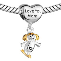 Sterling Silver Jewelry - MOTHER DAUGHTER CHARMS HEART BEADS 925 STERLING SILVER BEADS alternate image 1.
