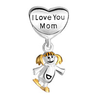 Sterling Silver Jewelry - MOTHER DAUGHTER CHARMS HEART BEADS 925 STERLING SILVER BEADS alternate image 2.