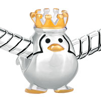 Sterling Silver Jewelry - STERLING SILVER FINE PENGUIN KING FITS BEADS CHARMS BRACELETS FIT ALL BRANDS alternate image 1.