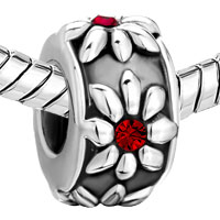 Charms Beads - SILVER GARNET RED SWAROVSKI CRYSTAL FLOWER CHARMS BRACELETS JEWELRY alternate image 1.