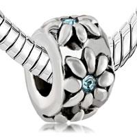 Charms Beads - ROUND FLOWER CHARMS BRACELETS MARCH BIRTHSTONE AQUAMARINE CRYSTAL alternate image 1.