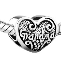 European Beads - HEART LOVE GRANDMA FIT ALL BRANDS &  SILVER PLATED BEADS CHARMS BRACELETS alternate image 1.