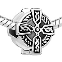 DPC_AM08: CELTIC CLADDAGH IRISH CROSS FIT ALL BRANDS SILVER PLATED BEADS CHARMS BRACELETS alternate image 1.